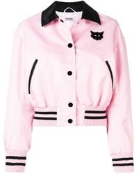 Miu Miu Cats Patch Bomber Jacket - Pink