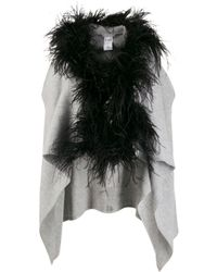 Fabiana Filippi Feather-embellished Knit Gilet - Gray