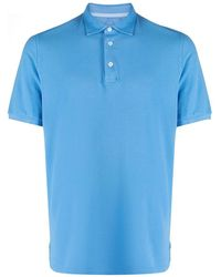 Fedeli Short-sleeved Cotton Polo Shirt - Blue