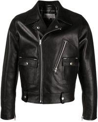 Maison Margiela Notched-lapel Leather Jacket - Black