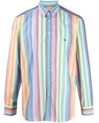 Etro Stripe-print Button-down Shirt - Yellow