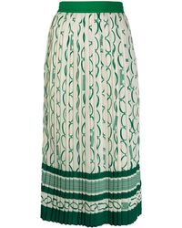 Elisabetta Franchi Chainlink Print Box Pleat Skirt - Green