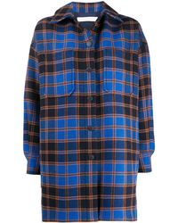 See By Chloé Oversized Checkered Shirt Coat - Blue