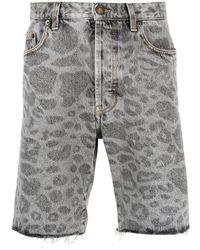 Saint Laurent Leopard-print Denim Shorts - Grey