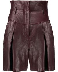 Alberta Ferretti High-waist Matte Shorts - Red