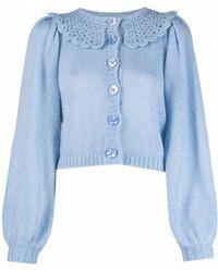 byTiMo Crochet-collar Cardigan - Blue