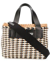 Miu Miu Eco Leather Wicker Tote Bag - Brown
