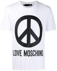 Love Moschino Large Peace Short Sleeve T-shirt White