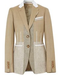 Burberry Contrast Seam Wool Cashmere And Linen Blazer - Natural