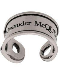 Alexander McQueen Silver Safety Pin Ring - Metallic