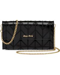Miu Miu Tonal Stitching Wallet On Chain - Black