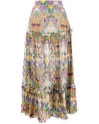 Chufy Inka Print Maxi Tiered Skirt - Green