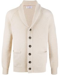 Brunello Cucinelli Ribbed Shawl-collar Cardigan - Natural