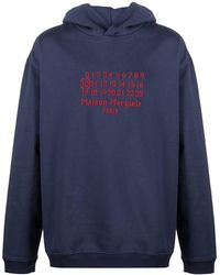 Maison Margiela Embroidered-logo Long-sleeve Hoodie - Blue