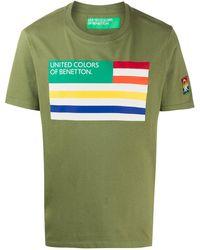 Benetton Flag-print Crew Neck T-shirt - Green