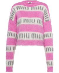 Miu Miu Intarsia-logo Sweater - Pink