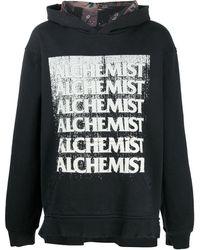 Alchemist Graphic-print Distressed-effect Hoodie - Black