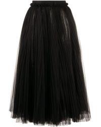 Dolce & Gabbana Tulle Longuette Skirt - Black