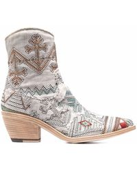 Fauzian Jeunesse Mexico Embroidered Ankle Boots - Grey