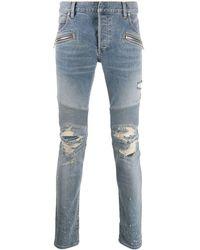 Balmain Biker Ripped Skinny Jeans - Blue