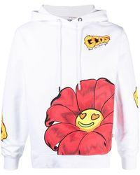 Gcds Flower Logo Print Hoodie - White
