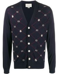 Gucci GG And Bees Cardigan - Blue