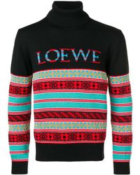 Loewe Black And Multicolour Jacquard Jumper