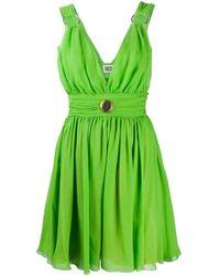 Fausto Puglisi Plunge Flared Mini Dress - Green