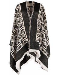Elisabetta Franchi Abstract Graphic-pattern Knitted Cape - Black