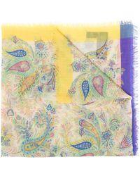 Etro Paisley Print Cashmere Scarf - Yellow