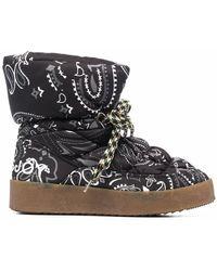 Khrisjoy Puff Bandana Print Boots - Black