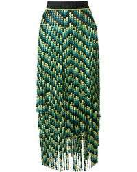 Marco De Vincenzo Panelled Embroidered Bead Skirt - Green