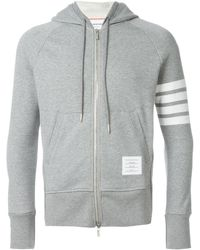 Thom Browne Engineered 4-bar Zip-up Jersey Hoodie - Gray