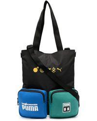 PUMA Slogan Print Bag With Patch Pockets - Black