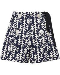 Prada All Over Print Shorts - Blue