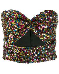 The Attico Sequin Strapless Top - Black