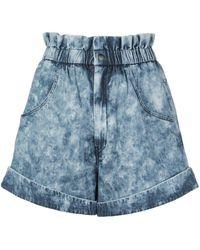 Étoile Isabel Marant Itea Paperbag Denim Shorts - Blue