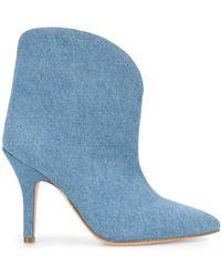 Paris Texas Denim Heeled Ankle Boots - Blue