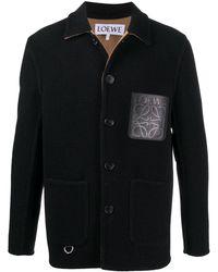Loewe Single-breasted Logo Coat - Black