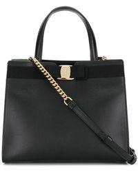 Ferragamo Vara Bow Top Handle Bag - Black