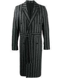 Ann Demeulemeester Stripe Double-breasted Coat - Black