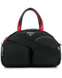 Prada Logo Plaque Top Handle Bag - Black