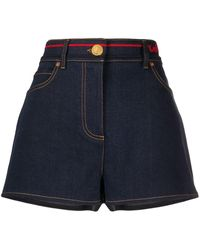 Valentino Signature-embroidered Denim Shorts - Blue