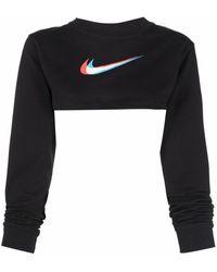 Nike Swoosh Print Cropped Top - Black