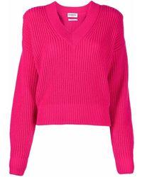 Essentiel Antwerp Ribbed-knit V-neck Sweater - Pink