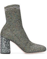 Miu Miu Knit Fabric Boots - Metallic