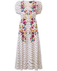 Saloni - Floral Printed Midi Dress - Lyst