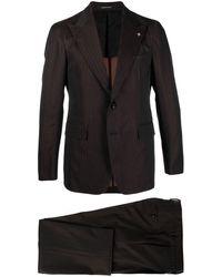 Tagliatore Striped Single Breasted Suit - Brown