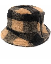 Stand Studio Faux-fur Checked Bucket Hat - Multicolour