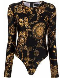 Versace Jeans Couture Baroque-print Bodysuit - Black